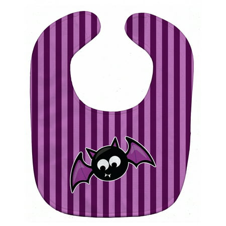 Halloween Bat Purple Stripes Baby Bib](Halloween Bibs)