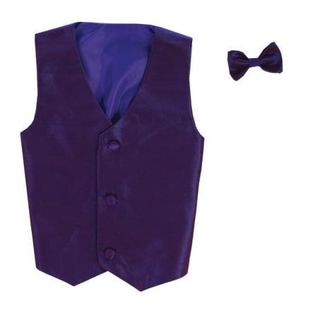 Boys Purple Poly Silk Vest Bowtie Special Occasion Set 8/10](Silk Spectre Outfit)