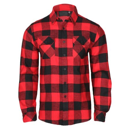 Men's Lightweight Hoodie Plaid Flannel Shirt (Bowling Cotton Sweatshirt)