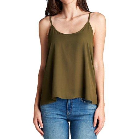 - Women's Draped Spaghetti Strap Sheer Chiffon sleeveless Tank Top-Plus Size Available (FAST & FREE SHIPPING)