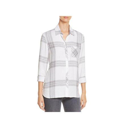 Beach Lunch Lounge Womens Bailey Plaid Long Sleeves Button-Down Top Season Long Sleeve Top