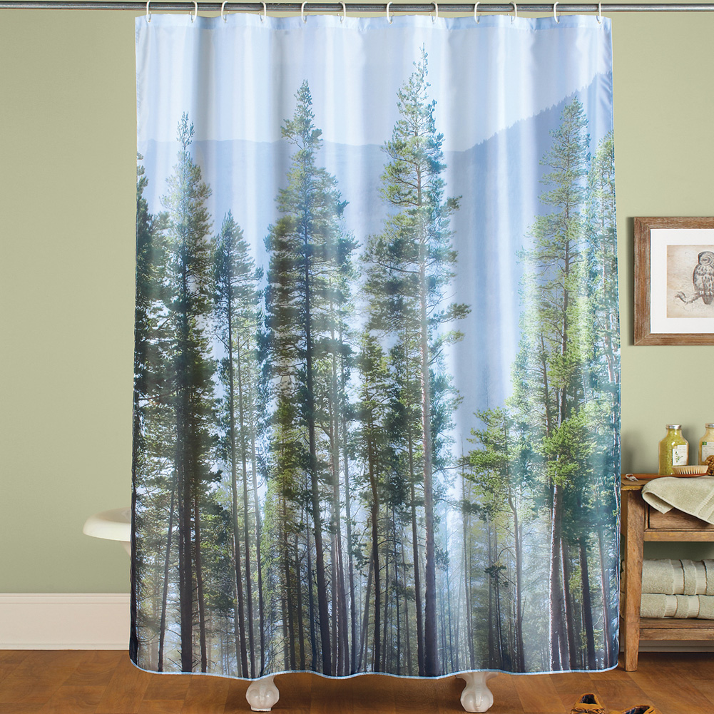 Misty Pine Trees Forest Scenic Shower Curtain Fresh