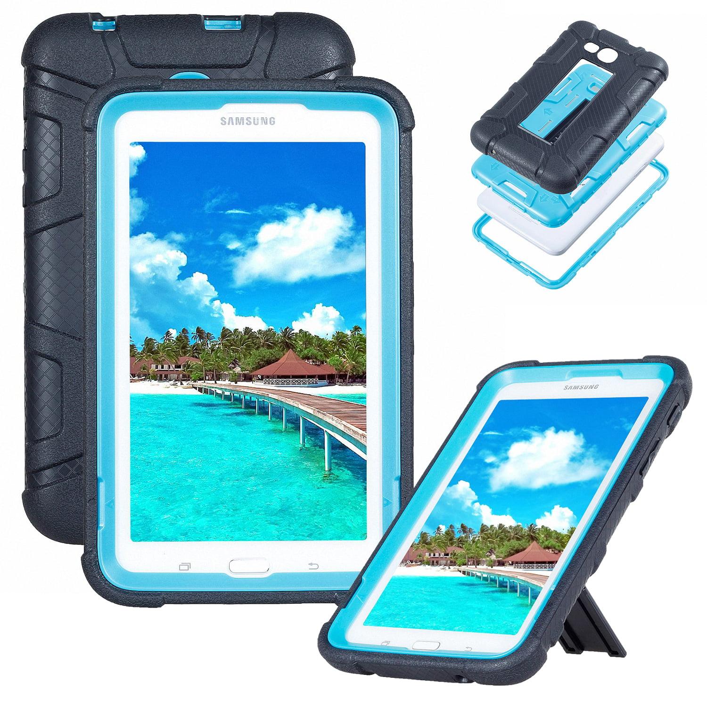 "Goodest Galaxy Tab E Lite / Galaxy Tab 3 Lite 7"" Kids Case T110 T111 T113 T116, Silicone Rubber Armor Protective Shockproof Armor Kickstand Cover for Samsung Galaxy Tab E/3 Lite, Black+Blue"