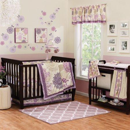 The Peanut Shell Crib Bedding Set - Purple and Lavender Floral Theme - Dahlia 4 Piece Baby Girl Crib Bedding Set