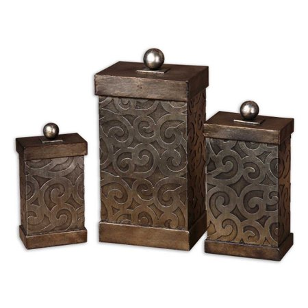 a73f382bed6a Set of 3 Antiqued Silver Leaf Scroll Embossed Lidded Metal Storage Boxes  15