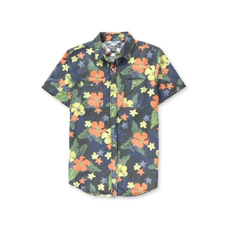 Red X Mens Denim Tropical Button Up Shirt