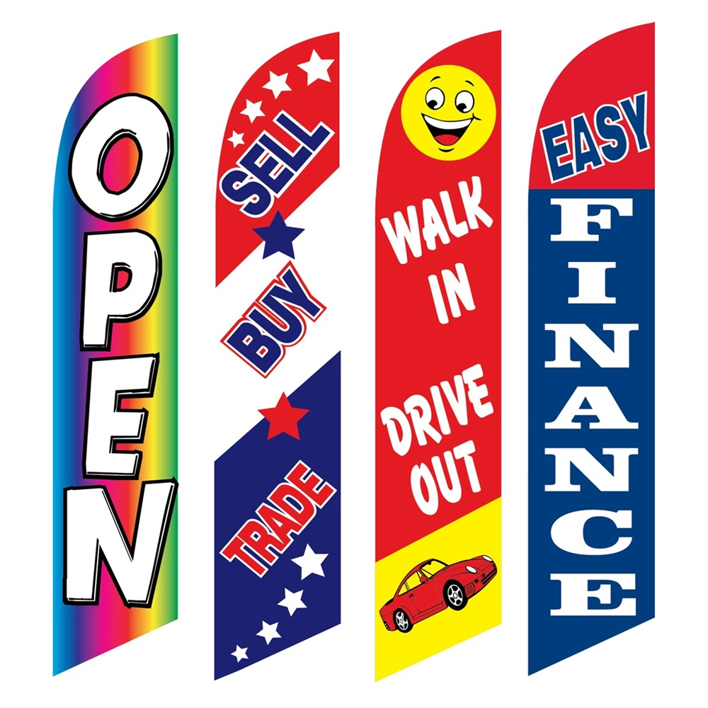 4 Advertising Swooper Flags Open Sell Buy Trade Walk In Drive Out Easy Finance