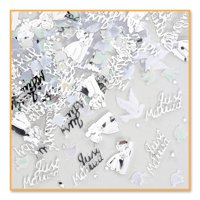 Pack of 6 Metallic Silver Wedding Day Celebration Confetti Bags 0.5 oz.