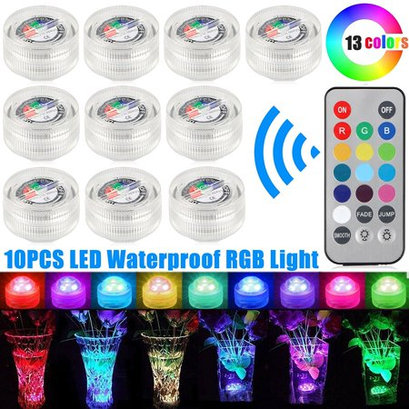 10-pack Remote Control Waterproof LED Color RGB Submersible Light Lamp, for Swimming Pool Wedding Party Vase, Battery Included