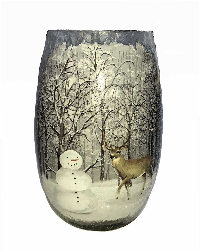 Stony Creek Frosted Glass 5 Quot Lighted Vase Friendly Forest Snowman Amp Deer