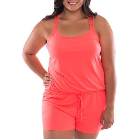 Moxi Blu Women's Plus-Size Strappy Romper Swimsuit Cover-Up