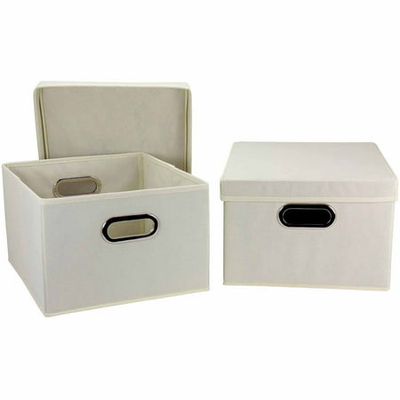 Household Essentials Collapsible Box with Lid and Built-In Grommet Handles, Natural