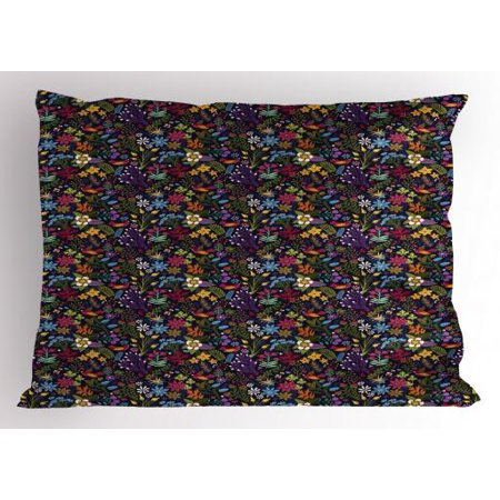 Colorful Pillow Sham Feminine Floral Composition Spring Nature Prospering Garden on Dark Background, Decorative Standard Size Printed Pillowcase, 26 X 20 Inches, Multicolor, by Ambesonne
