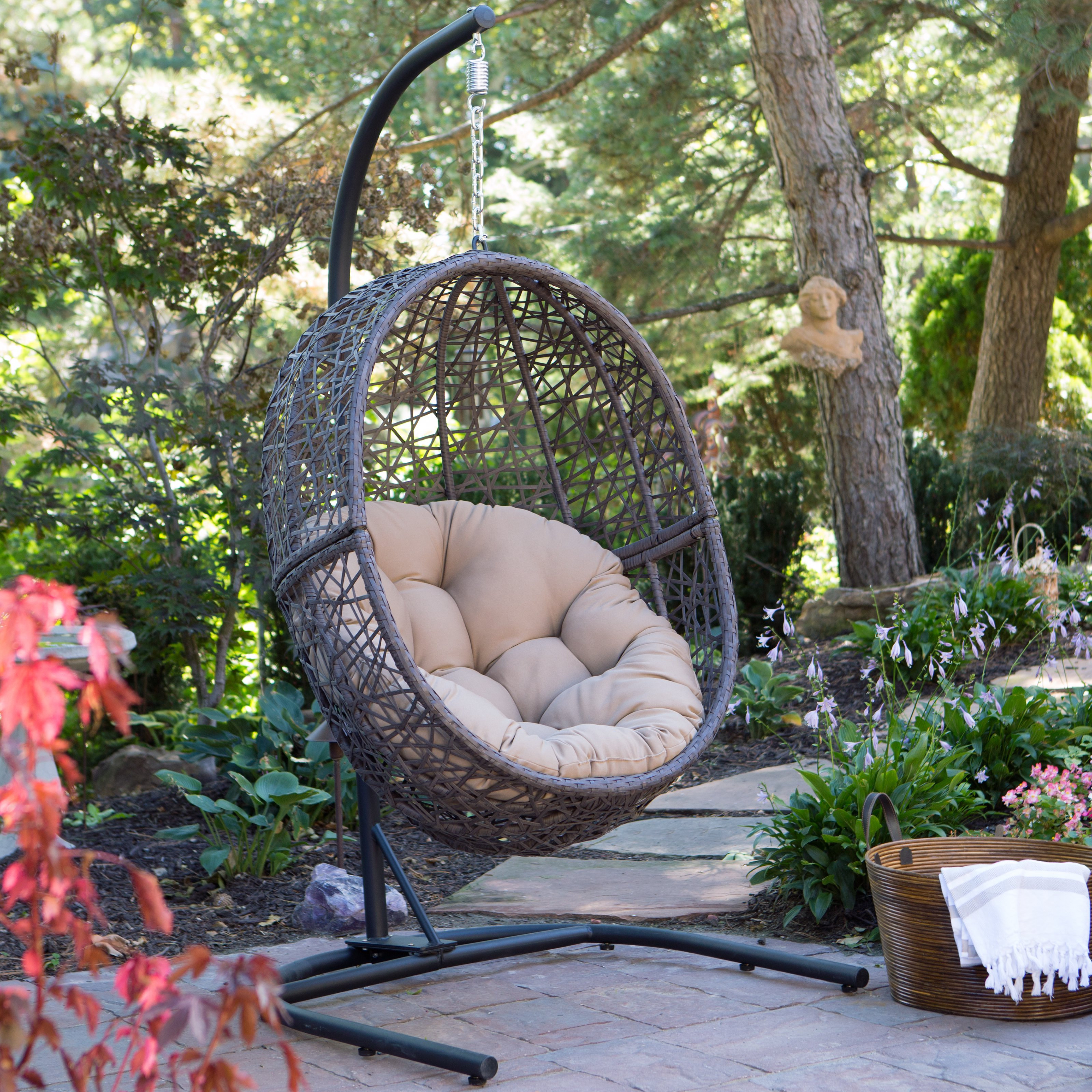 Island Bay Resin Wicker Hanging Egg Chair with Cushion and Stand by