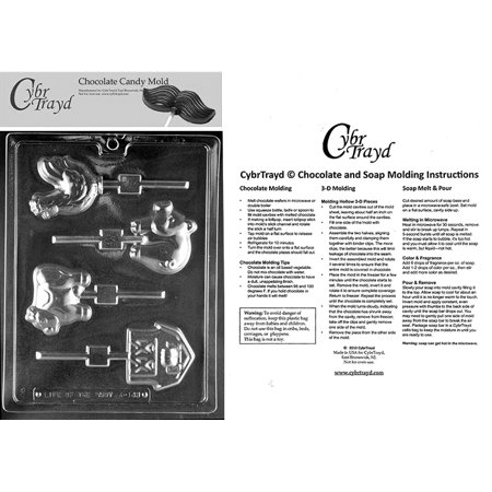 Farm Animal Lollies Chocolate Candy Mold with Exclusive Cybrtrayd Copyrighted Molding Instructions