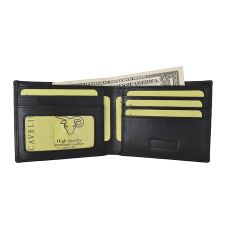 Marshal Cavelio Mens Genuine High Quality Leather ID Card Holder Classic Design Slim Bifold Wallet