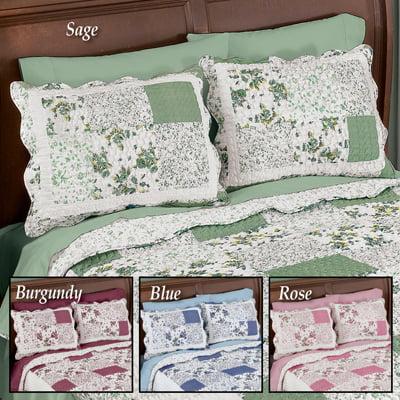 Floral Hadley Patchwork Quilted Pillow Sham, Blue, Sham
