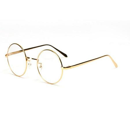 e88f41c7d3 New Designer Retro Clear Lens Nerd Frames Glasses Mens Womens Eyewear Gold  - Walmart.com