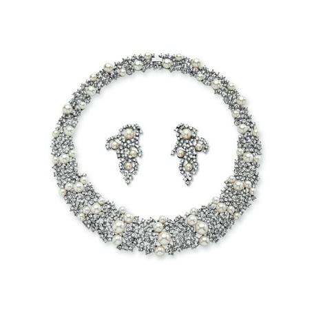 Simulated Pearl and Crystal Choker Necklace and Earrings Set in Rhodium-Plated Finish