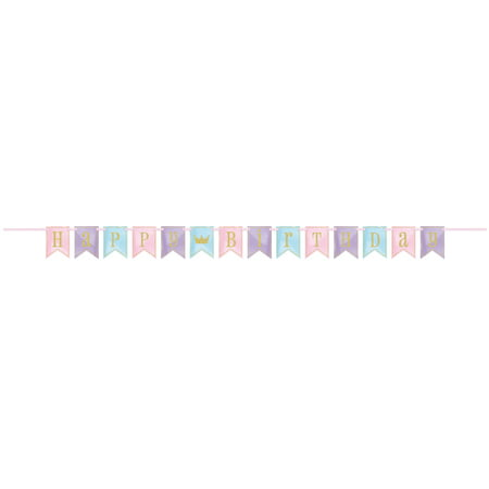 Glitter Magical Princess Happy Birthday Banner, 7 ft, 1ct - Princess Birthday Banner