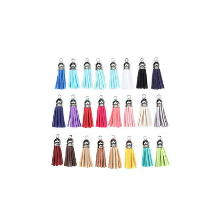 Leather Tassel Key Ring (100 Pcs Multicolored Small Leather Tassels, Faux Suede Tassel for Jewelry Making/Crafts/Key Ring/Keychain Charms )