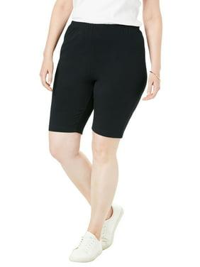 Woman Within Plus Size Stretch Cotton Bike Short Shorts