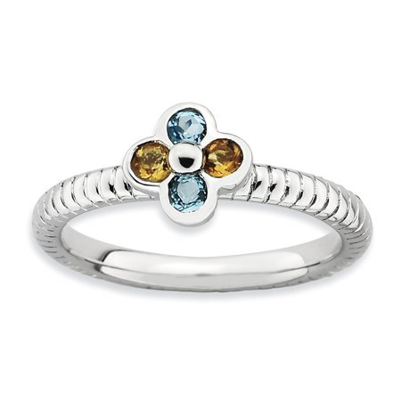 Sterling Silver Stackable Expressions Blue Topaz & Citrine Flower Ring Size 10 - image 3 of 3