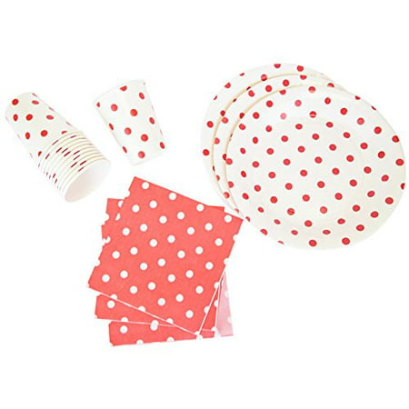 Just Artifacts Disposable Party Tableware 44 Pieces Polka Dot Pattern Dining Set (Round Plates, Cups, Napkins) - Color: Red - Decorative Tableware for Parties, Baby Showers, and Life - Polka Dot Cups And Plates