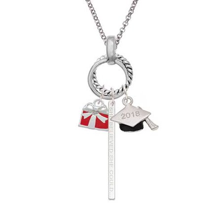 Silvertone Small Red Enamel Present 2018 Graduation Twist Ring Charm Necklace (Graduation Present)