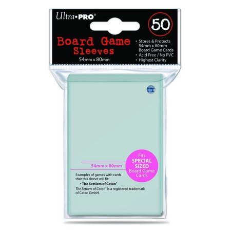 54mm X 80mm Board Game Sleeves 50ct (for Catan), Special Size 54mm x 80mm Board Game Sleeve is sized to fit The Settlers of Catan Board Game Cards By Ultra Pro