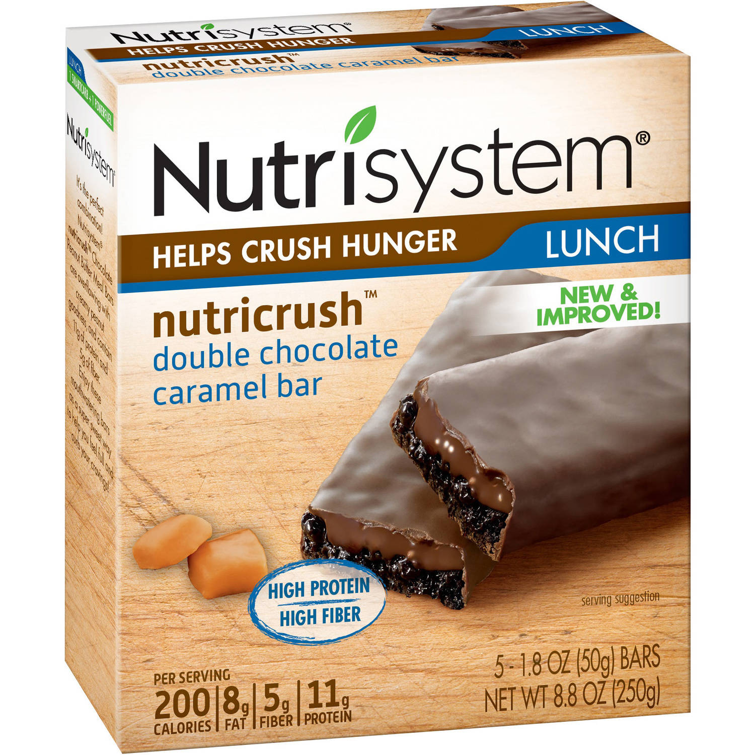 Nutrisystem NutriCRUSH Double Chocolate Caramel Meal Replacement Bars, 1.8 oz, 5 count