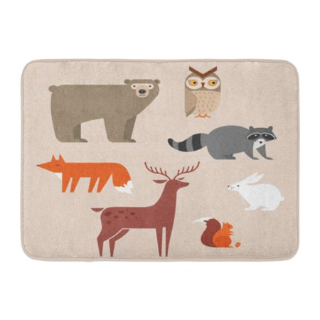 GODPOK White Flat Cute Forest Animals Include Bear Owl Fox Raccoon Deer Rabbit and Squirrel Colorful Woodland Rug Doormat Bath Mat 23.6x15.7 inch - Woodland Fox