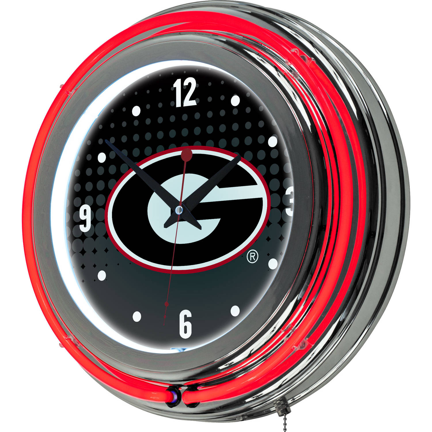 University of Georgia Chrome Double Rung Neon Clock, Reflection