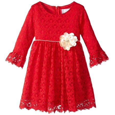 Rare Editions Toddler Girls Red Lace Dress  2T