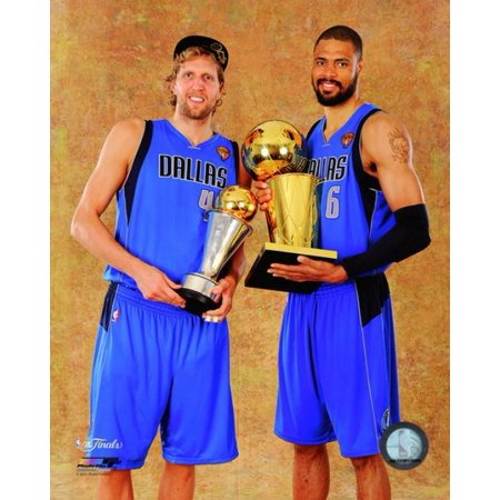 Dirk Nowitzki & Tyson Chandler with the 2011 NBA Championship & MVP Trophies Game 6 of the 2011 NBA Finals Photo Print