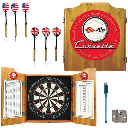 Corvette C1 Dart Cabinet Includes Darts and Board - Red