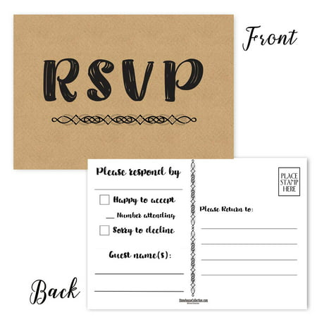 Formal RSVP Reply Postcards - 50 Reply Cards - Wedding RSVP Cards - Box For Wedding Cards