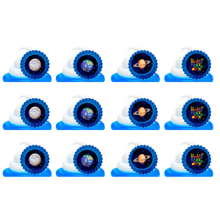 Galaxy Planets Easy Toppers Cupcake Decoration Rings -12pk