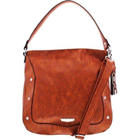 Jessica Simpson Womens Locket Faux Leather Studded Hobo Handbag Ladies Studded Satchel