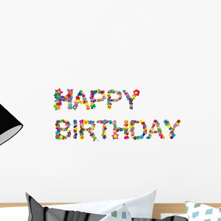 Happy Birthday Peel - Happy Birthday Wall Decal by Wallmonkeys Peel and Stick Graphic (18 in W x 13 in H) WM146060