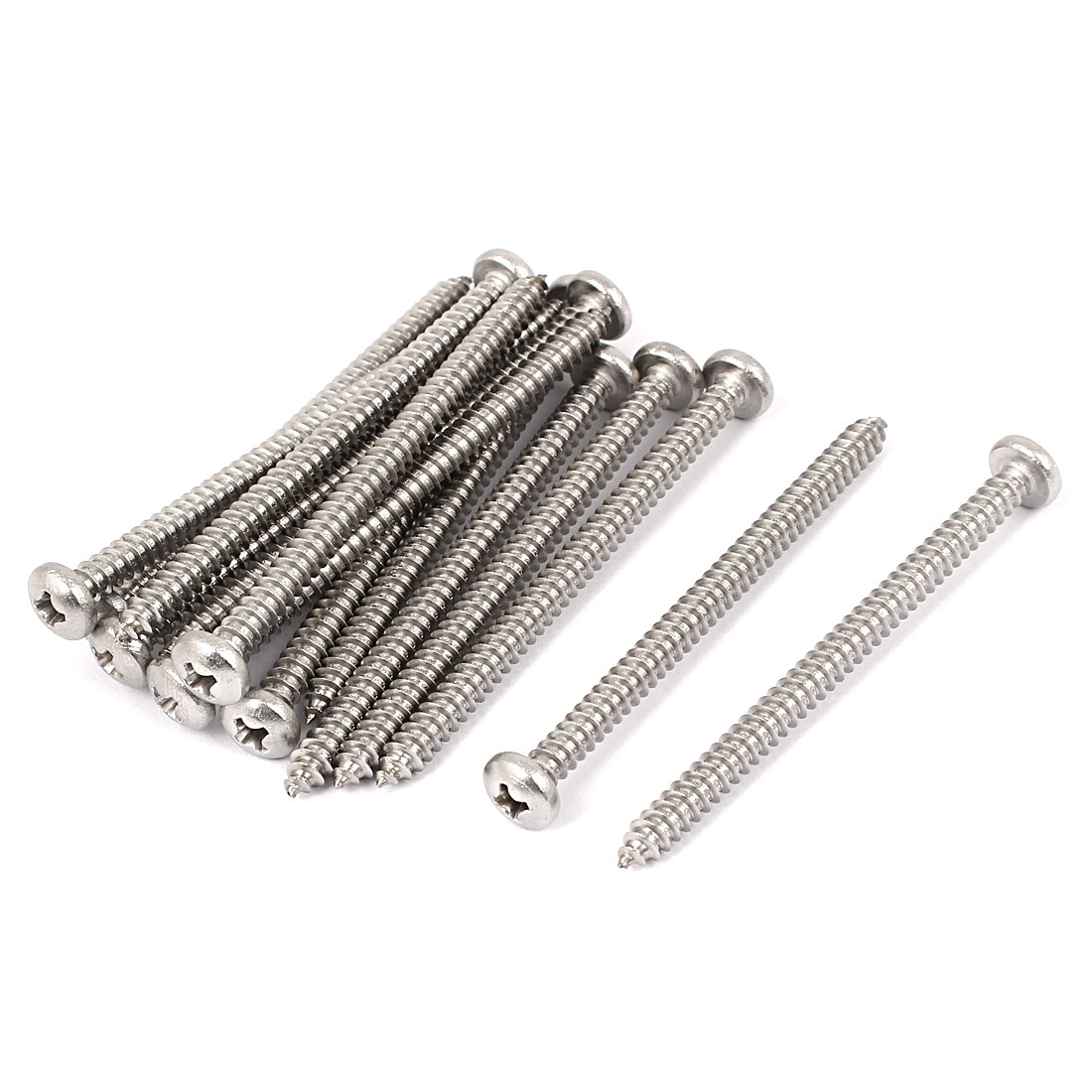 #10 M4.8x70mm Stainless Steel Phillips Round Pan Head Self Tapping Screws 15pcs