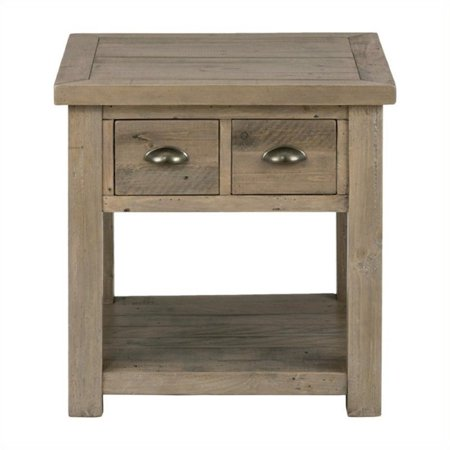 (Bowery Hill End Table with Straight Legs in Pine)