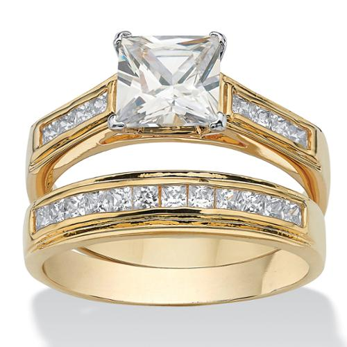 2.92 TCW Princess-Cut Cubic Zirconia 14k Yellow Gold-Plated Bridal Engagement Ring Wedding Band Set - Size 10