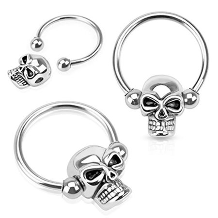 Captive Bead Ring ball closure ring Skull Surgical Steel 14g 16g Sizes - Black Steel Captive Bead