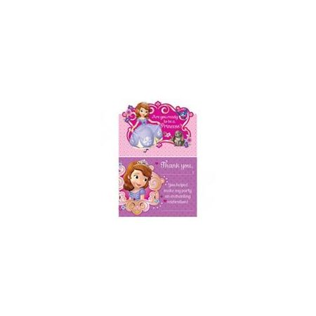 Sofia the First Invitations and Thank You Notes w/ Envelopes (8ct - Sofia Invitations