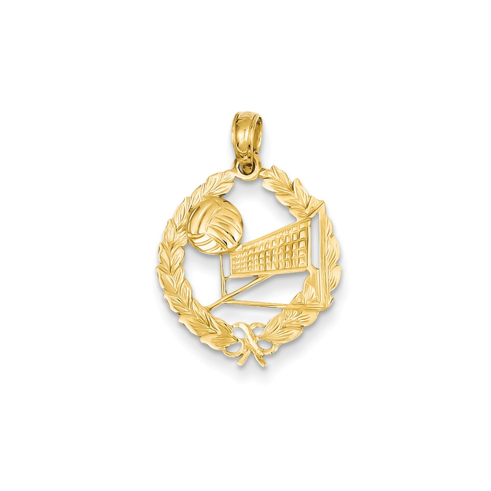 14k Yellow Gold Volleyball Story in Leaf Circle Pendant