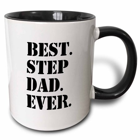 3dRose Best Step Dad Ever - Gifts for family and relatives - stepdad - stepfather - Good for Fathers day - Two Tone Black Mug, (Best Gifts For Step Dads)
