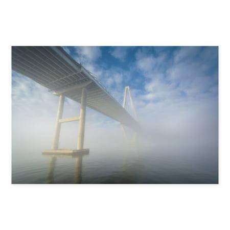 Charleston Gallery - NOIR Gallery Charleston South Carolina Bridge in Fog Canvas Wall Art