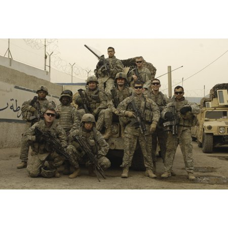 US Army Soldiers pose for a photo before patrolling Baghdad Iraq Canvas Art - Stocktrek Images (34 x
