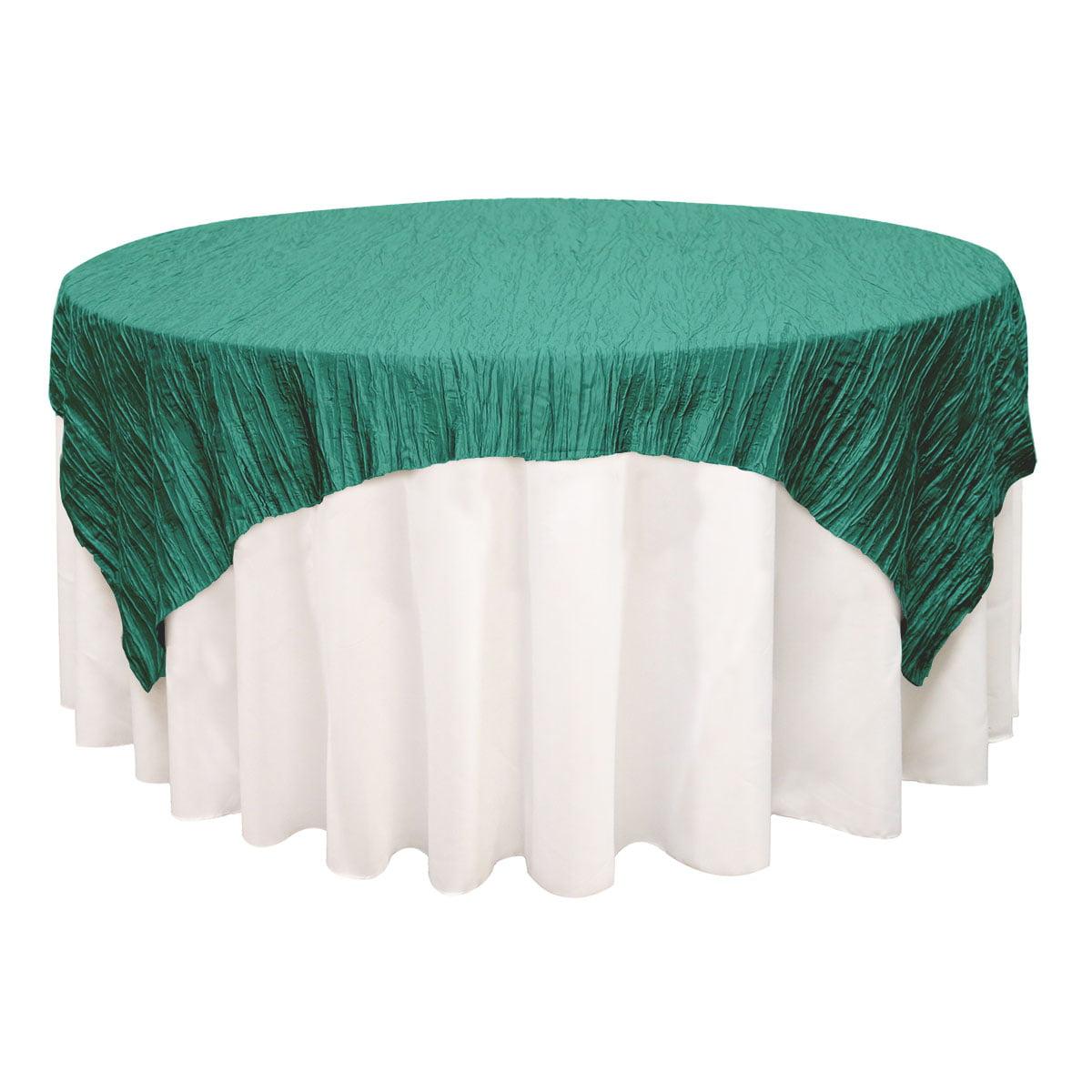 YCC Linen - 72 inch Square Crinkle Taffeta Table Overlay Blush